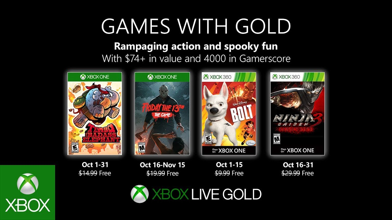 Xbox | Games with Gold de outubro terá Friday the 13th: The Game e Ninja Gaiden 3